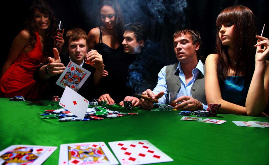 People playing poker table