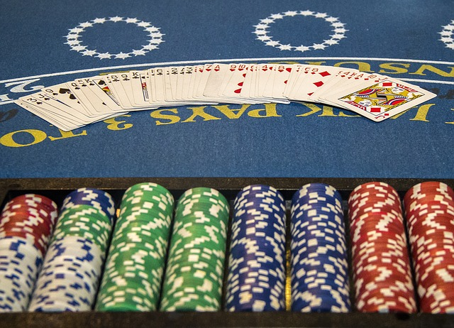 Blackjack table and chips